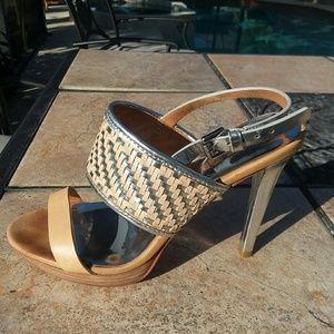 COACH Sexy Silver + Tan High Heels Sandals